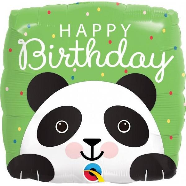 "Shape square 18""/45 cm Happy birthday Panda"