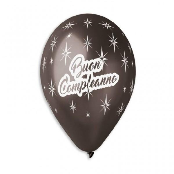 """Palloncini 13""""/33 cm  Buon compleanno Nero 50pz"""