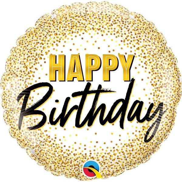 "Shape 18""/45 cm Happy Birthday gold glitter"