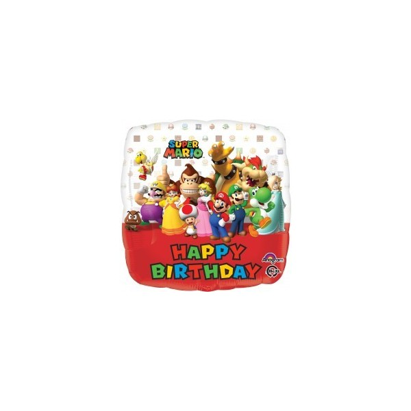 "Shaper square 17""/43cm Mario bros happy birthday"