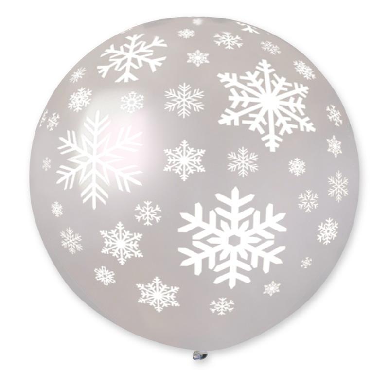 "Palloncino Mongolfiera 30""/80 cm fiocchi di neve"