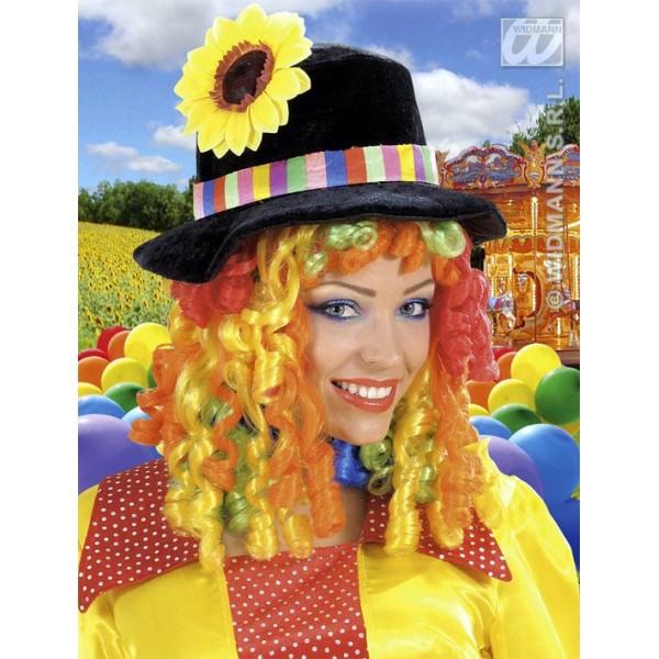 cappello clown in velluto con parrucca