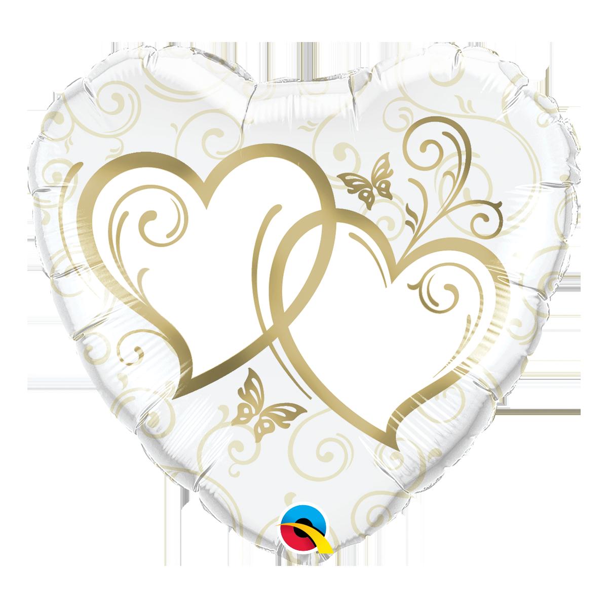 """Shape cuore 18""""/45 cm incrocio di cuori dorati"""