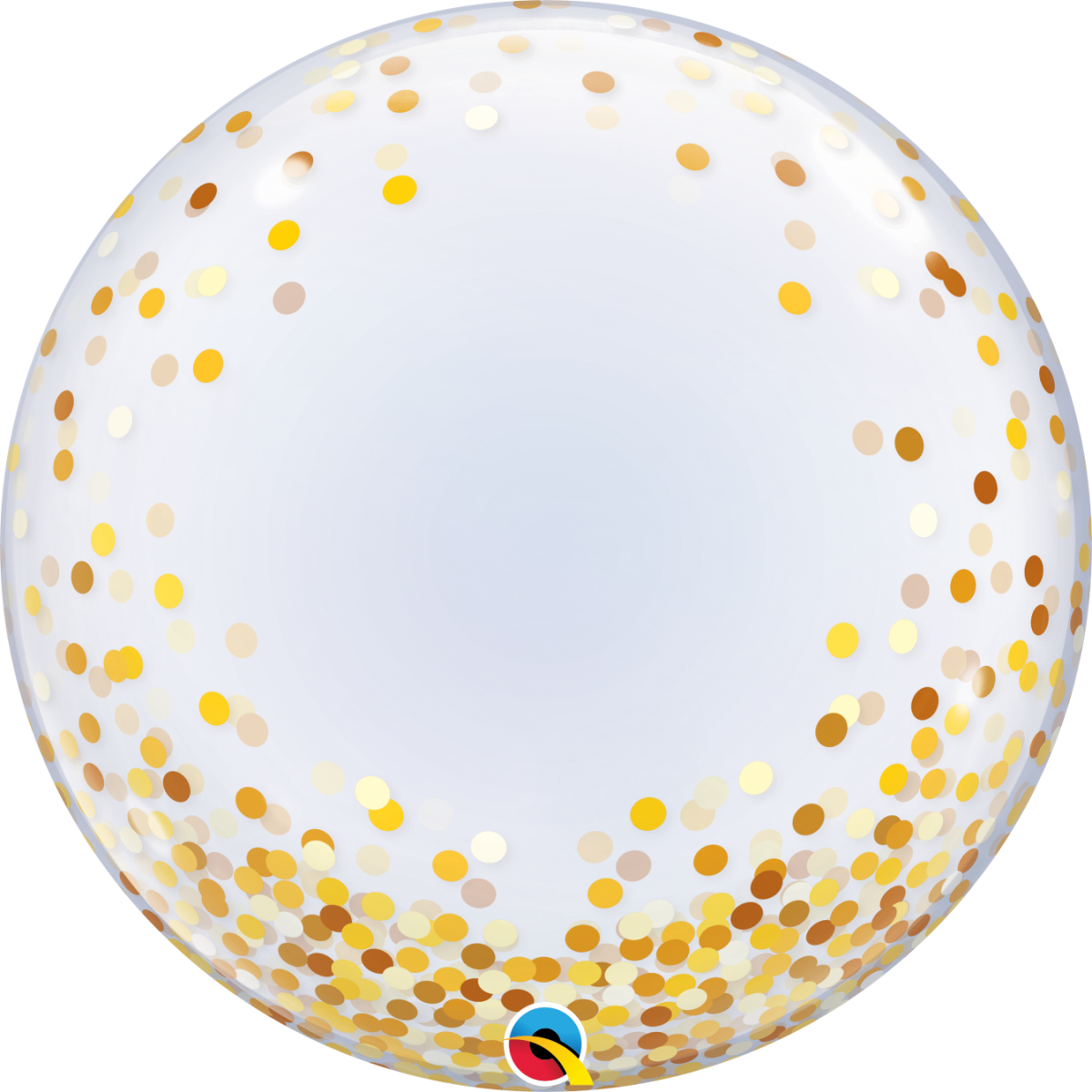 "Pallone bubble 24""/61cm gold confetti dots"