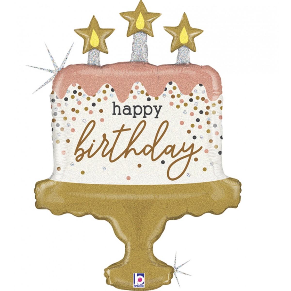 "Supershape 33""/84cm birthday cake confetti"