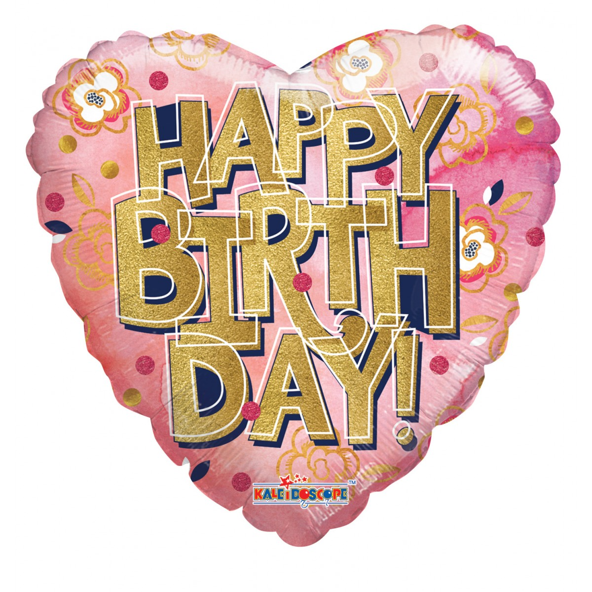 """Shape cuore 18""""/45cm Happy Birthday gold letters"""