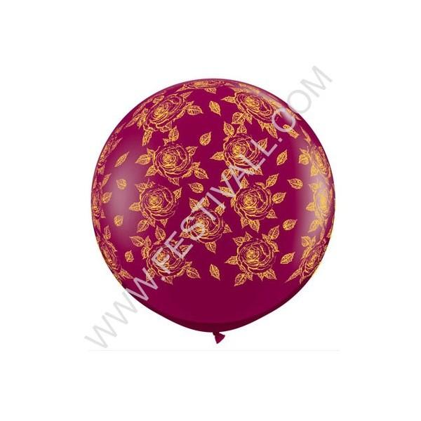 Palloncino mongolfiera 3'/100 cm rose dorate su burgundy