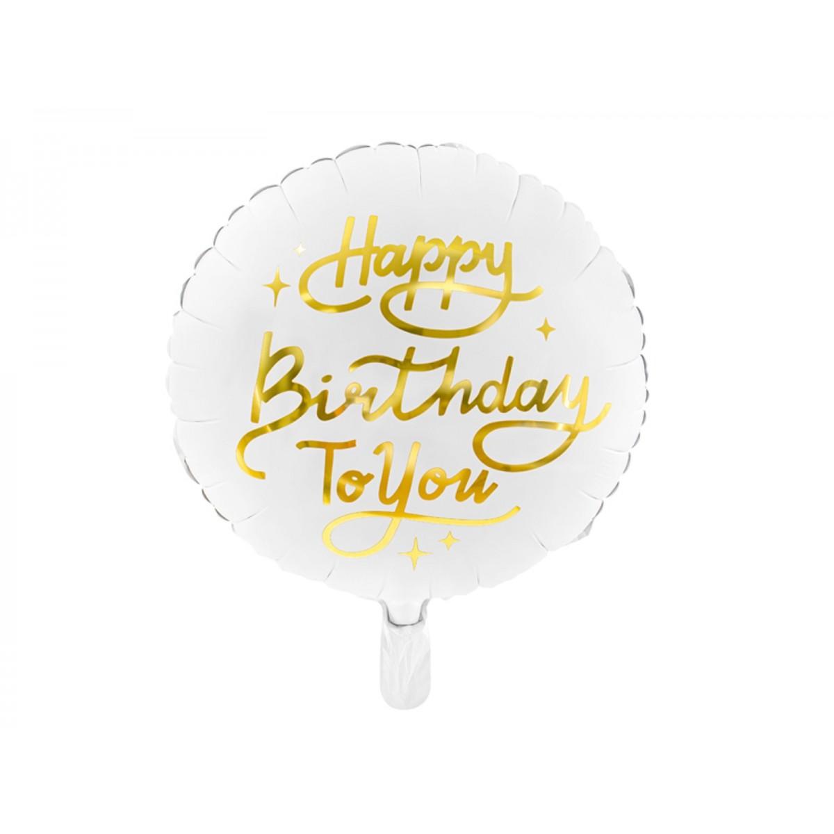 "Shape 18""/45cm White & gold Happy birthday to you"