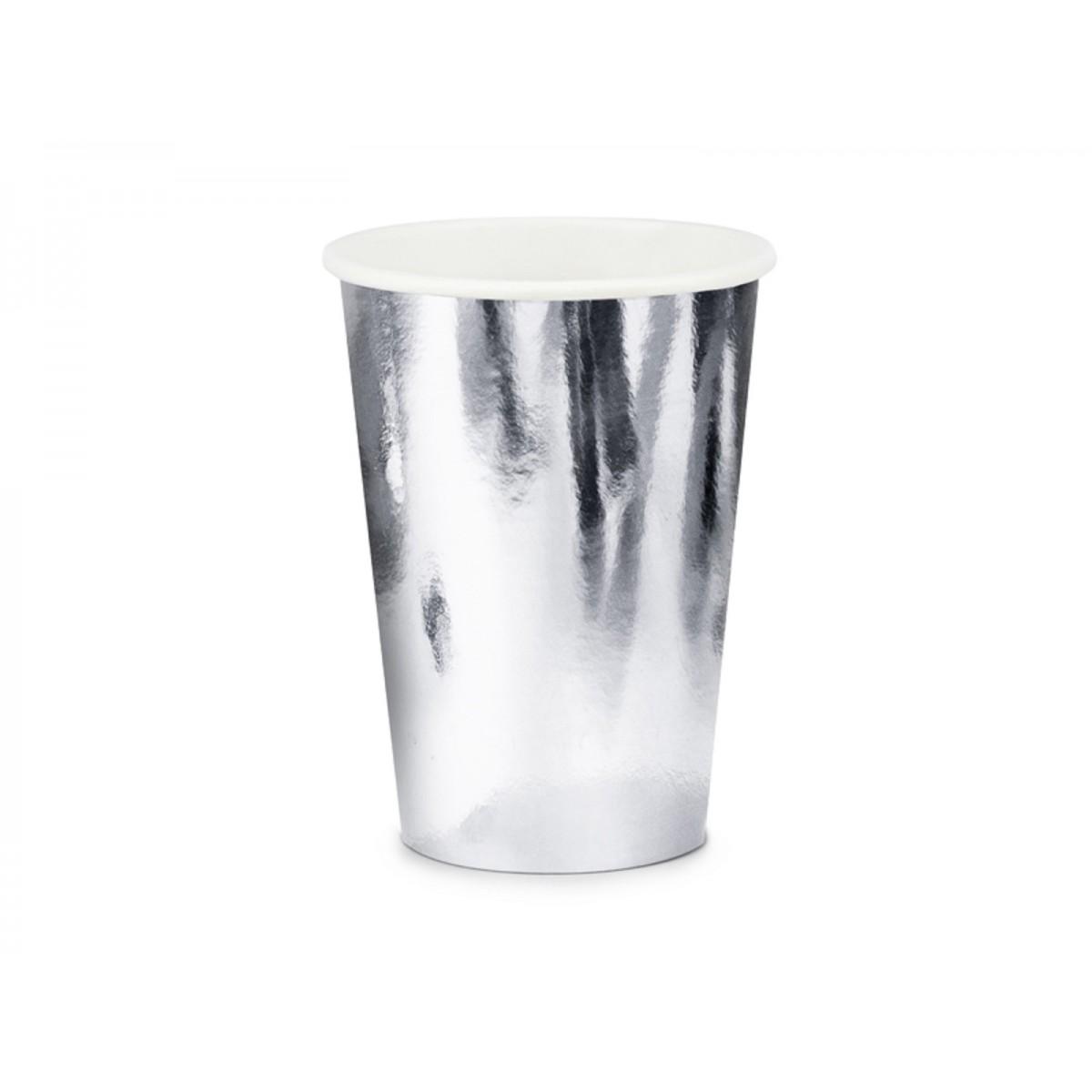 Bicchieri in carta argento 220ml 6pz.