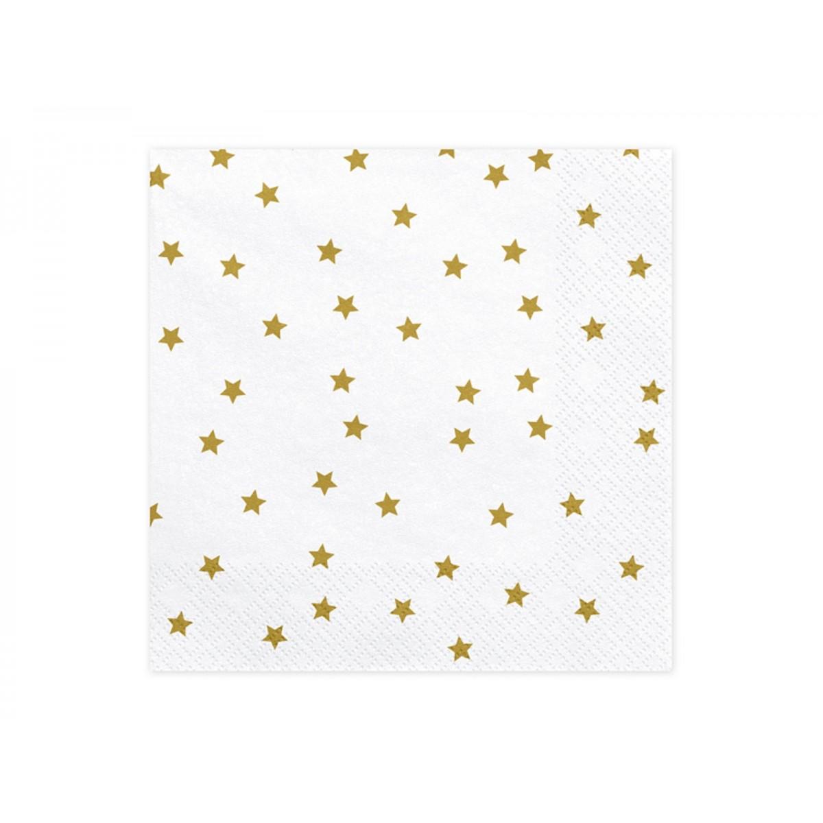 Tovaglioli bianchi con stelle oro 20pz