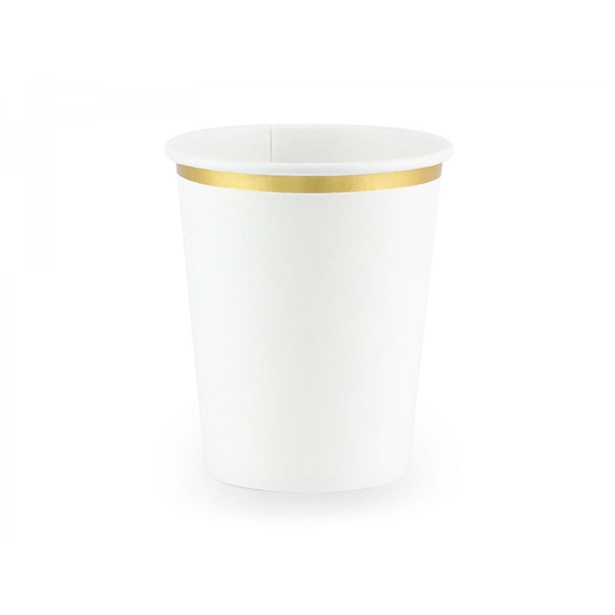 Bicchieri bianchi con bordo oro 6pz