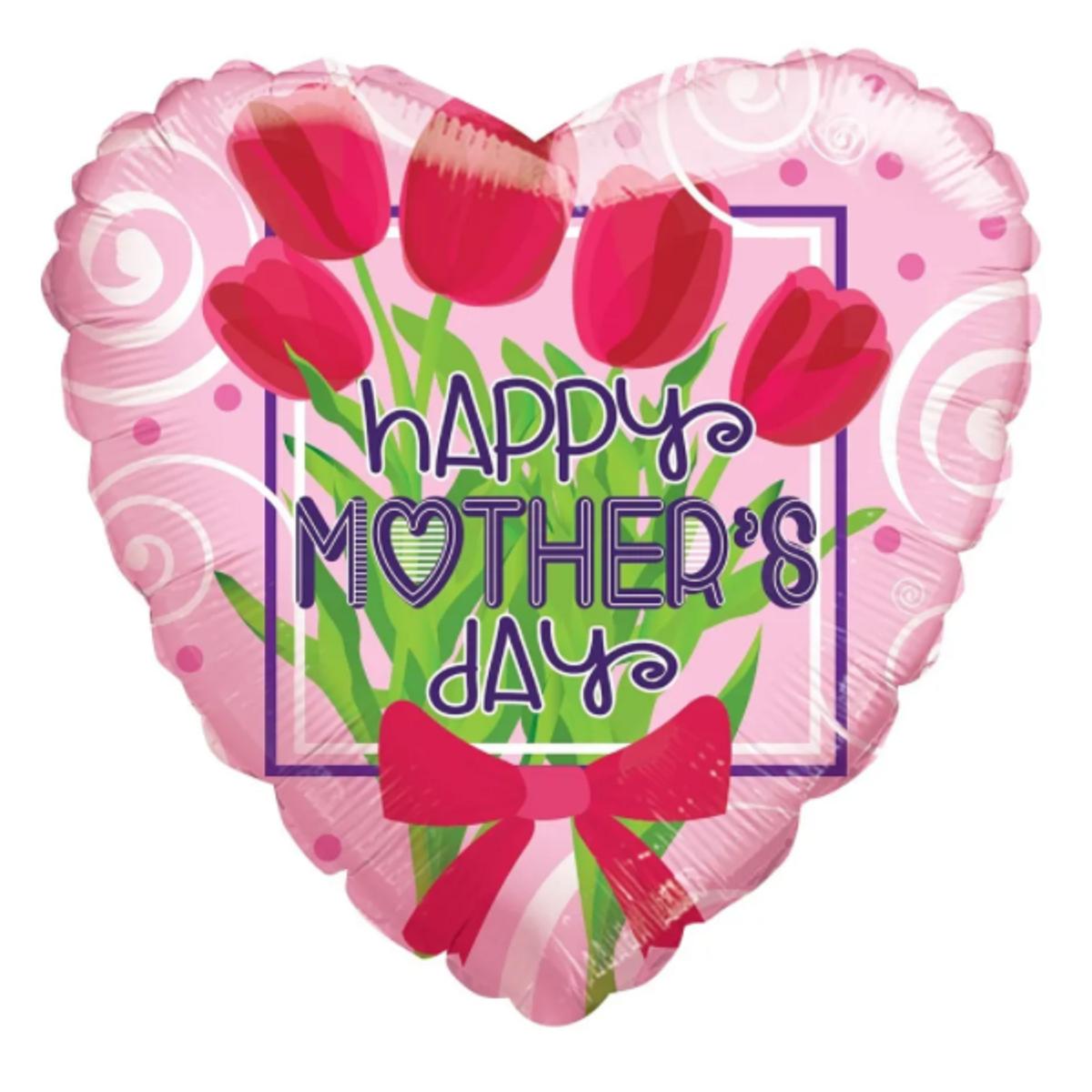 "Shape cuore 18""/45cm Happy mother's day tulipani"