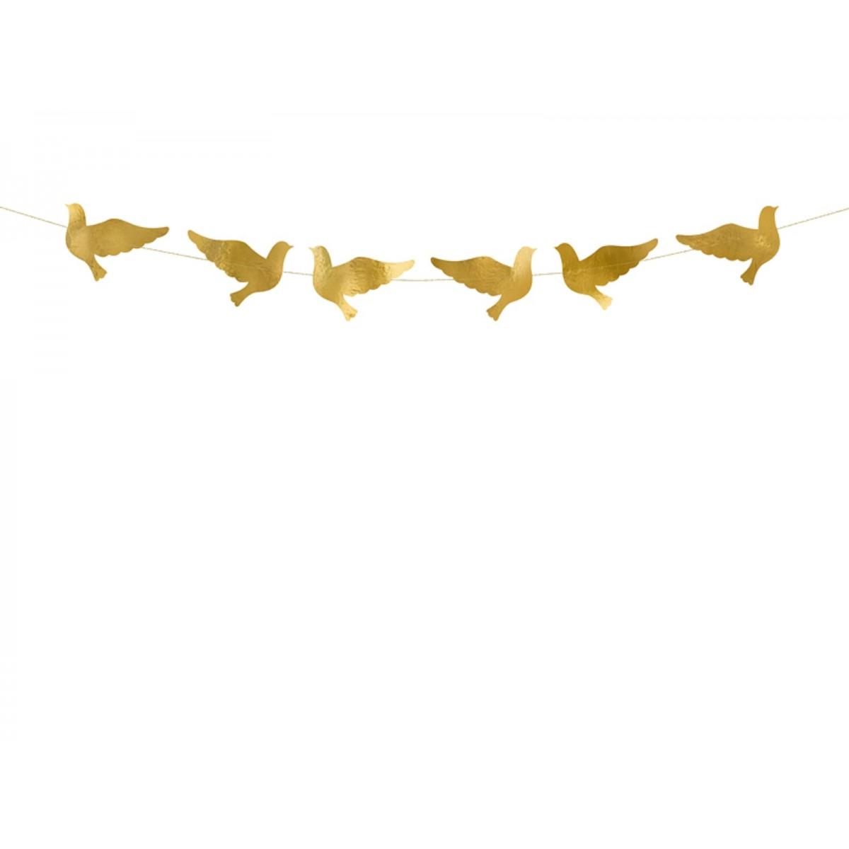 Festone ghirlanda colombe dorate
