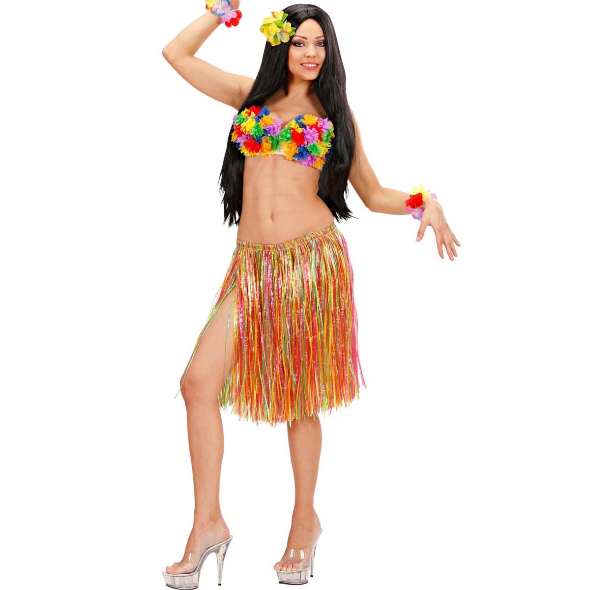 Gonna hawaiana multicolor 55cm