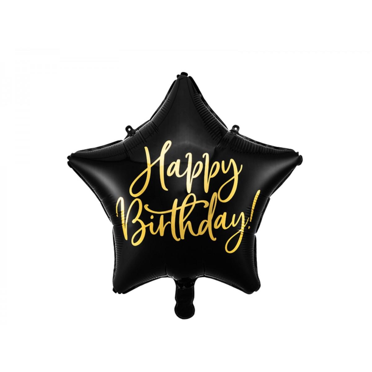 """Shape 18""""/45cm stella nera e oro Happy Birthday"""