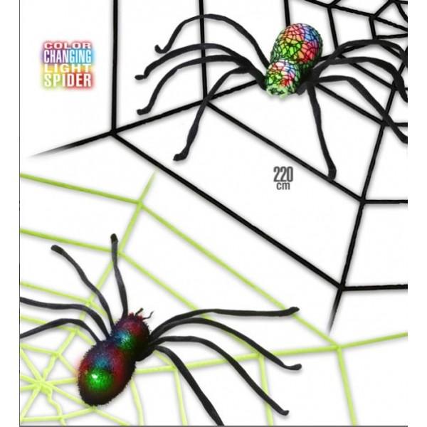 Ragnatela gigante 220cm con ragno luminoso