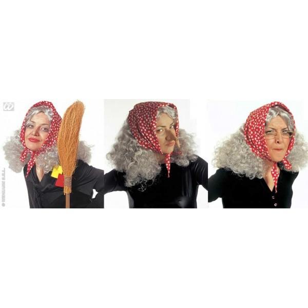parrucca vecchietta strega befana con foulard