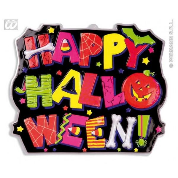 insegna 3D happy halloween fluo
